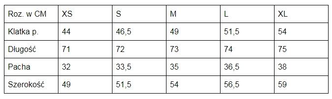 Tank Top SMPOWER tabela rozmiarów