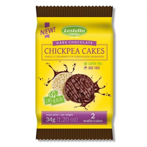 Wafle z ciecierzycy w czekoladzie deserowej Lestello 34 g