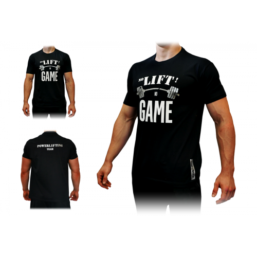 T-Shirt Męski No Lift No Game Silver SMPOWER Powerlifting