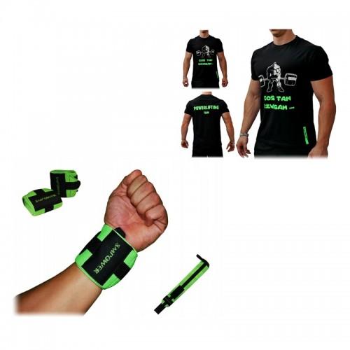 T-Shirt Coś tam dźwigam + Owijki na nadgarstki Heavy